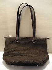 Talbots Brown Heathered Woven Straw Tote, Shopper, Handbag, Shoulder Bag - Lined