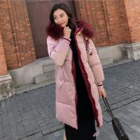 Damen Winter Warm Hooded Daunenjacke Jacke Kapuze Lange Dicke Parka Mantel New