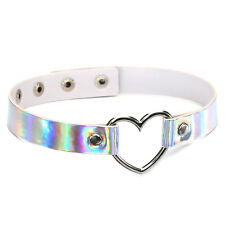 Holographic Choker Punk Gothic Laser Leather Heart Collar Necklace Rivet Buckle