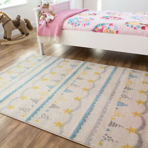 Colourful Bunting Candy Stripes Childrens Blue Yellow Nursery Playroom Rug Mats