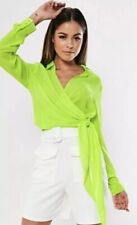 MissGuided Neon Front Tie KNOT Blouse Top Shirt Size 8 NEW