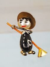1960s Painted Witch Broom Brooch Very Cute with Faux Pearl Detail.