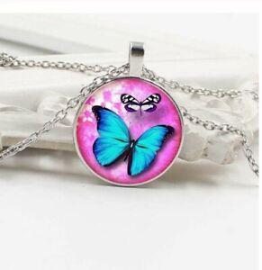 Collier Fille Pendentif Papillon Bleu + Chaine - Bijoux des Lys