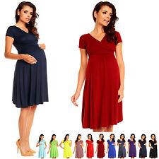 Zeta Ville - Women's Maternity Wrap V-neck Summer Dress - Short Sleeves - 108c