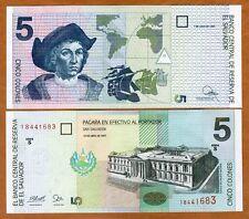 El Salvador, 5 Colones, 1997, P-147a, UNC > Columbus, Pre-USD$