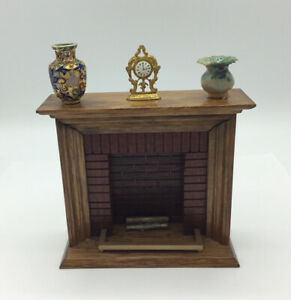 Dolls House Fireplace With Clock And Vases
