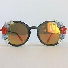 Firecracker  - PinksAndMinks Mirror Flower Embellished Sunglasses Rhinestones