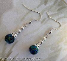 Beautiful Pierced Earrings Jade Green Turquoise Deep Blue Splash Glass Bead