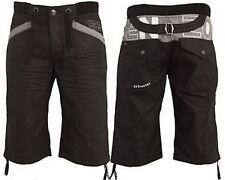 "Mens Enzo Black Grey Sky DESIGNER Denim Shorts Short Jeans Sizes 28""-38"" 30 In. Ezs265 Black"