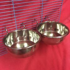 2x Dog Cat Bird Rabbit Cage Clip Water Food Bowl Countainer 2 Hook Coop Cup 12cm