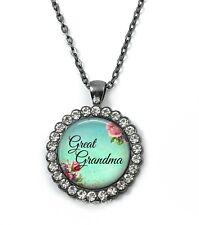 Great Grandma Rhinestone Crystal Pendant Charm Necklace Mothers Day Gunmetal