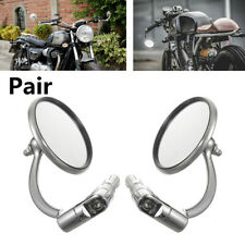 Pair Motorcycle Stainless Steel Round Handle Bar End Mirror Cafe Racer Universal