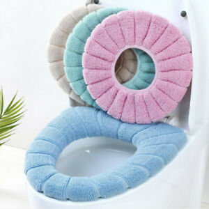 Bathroom Toilet Seat Cover Home Cushion Stretch Washable Padded Soft Cosy Shaggy