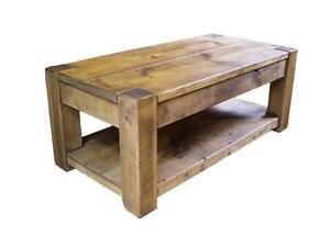 "CHUNKY SOLID WOOD 42"" COFFEE CONSOLE TABLE SHELF SIDE RUSTIC PLANK Indigo Furnit"