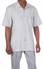 Mens' Summer Leisure Suit/ Walking Suit with check design Gray- Milano stye 2953