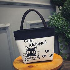 Cat Cafe Footprint Women's Canvas Clutch Bag Lunch Bag Box Tote Handbag