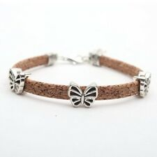Natural cork w/butterfly beads bracelet  - Made in Portugal