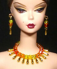 Dreamz EXOTIC Yellow Orange Red Gold Choker Set Doll Jewelry made for Barbie