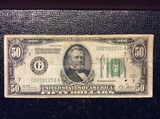 1928 A Green Federal Reserve Note $50 Fifty Dollar Bill Chicago Gold on Demand