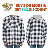 MENS HEAVY FLANNEL JACKET HOODED FLEECE LINED BUTTON FRONT JACKETS BIG AND TALL