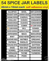 WHITE 54 SPICE JAR LABELS adhesive vinyl HERB & SPICE Jar Storage Stickers decal