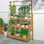 3 Layer Bamboo Plant Stand Flower Basket Hanging Rod Balcony Garden Patio Shelf