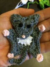 Crochet Sugar Glider Possum Applique Scrapbooking Hair Clips