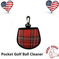Pocket Golf Ball Washer with Belt Hook Attach To Golf Bag Portable Microfiber