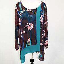 NEW NWT Citron Clothing Plus Size Wine Floral 100% Silk Draped Tunic Blouse 3X