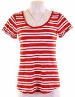 BANANA REPUBLIC Womens T-Shirt Top Size 12 Medium Red Striped Cotton  IT03