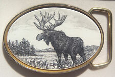 Belt Buckle Barlow Reproduction of Moose Traditional Brass Hunting 590609
