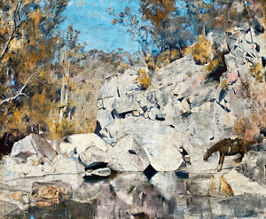 In a Corner on the Macintyre by Tom Roberts A1 High Quality Canvas Print