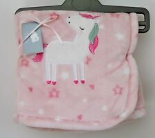 Unicorn Soft Fleece Pink Baby Blanket.  Brand New