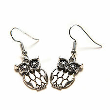 Cute Silver Plated Night Owl Earrings Women Girl Surgical Steel Hook Dangle EP