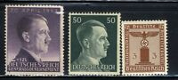 1940-45 Germany Nazi 3-STAMP Third Reich Hitler Swastika Deutsch WWII MNH OG