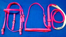 New Nylon Race Bridle~Headstall,Chin Strap, Noseband,Reins~Hot Pink-Horse Racing