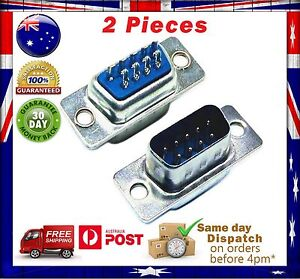 2x DB9 RS232 Male Serial Connectors 9 pin - Null modem connector- Solder Type