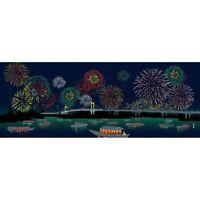 HAMAMONYO Picture Tenugui  'Fireworks & Summer Big Party'  (Japanese Hand Towel)