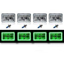 "4X6"" Green LED COB Halo Crystal Glass/Metal Headlight Light Bulb Headlamp Set"