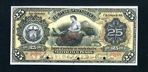 El Salvador S205s2 (Variety) Specimen 25 Pesos 1919, Gem Unc, 99c NO RESERVE