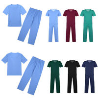 Scrub Medical Uniform Top Trouser Pants Women Mens Tunic Nurse Hospital Medical