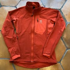 Haglofs Womens Medium EU 38 Red Full Zip Softshell Track Windbreaker Jacket MINT