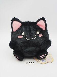 """Maruneko Cat Club B2708 Black Plush 4.5"""" Stuffed TAG Toy Doll SK Japan"""