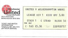 MANCHESTER UNITED V WOLVERHAMPTON WANDERERS 1981/1982 TICKET