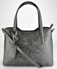NWT hand bag shoulder bag tote strap woman bag made in Italy embossed flowers