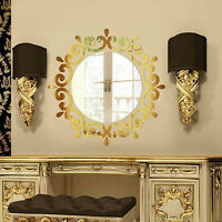 3D New Fashion Feather Mirror Wall Sticker Home Decor Room Decal Mural Art DIY