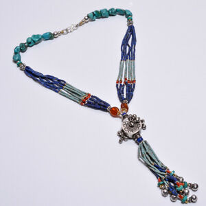 925 Sterling Solid Silver Pendant Nepali Necklace Turquoise,Coral Handmade(BBCI)