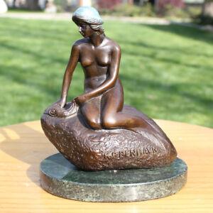 Art Deco handmade Sculpture Denmark Mermaid Nude Bronze Copper Statue