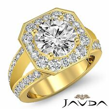 Round Diamond Engagement Halo Split Shank Ring GIA F VS2 18k Yellow Gold 2.16ct