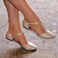 Women Diamante Rhinestone Ballet Shoes Flats T Bar Prom Wedding Evening Pumps